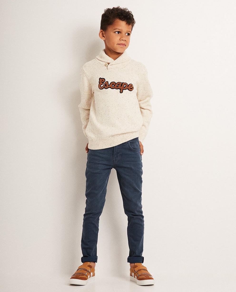 Cremeweißer gestrickter Pullover - mit Aufschrift - JBC